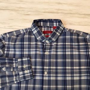 Hugo Boss mens S slim fit blue plaid shirt EUC